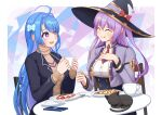 2girls :q absurdres ahoge azur_lane black_cat black_jacket blue_hair breasts brown_sweater casual cat chair closed_eyes cropped_jacket cup food hat helena_(azur_lane) highres holding holding_cup huge_filesize jacket king's_raid large_breasts light_purple_hair long_hair medium_breasts mouhantain multiple_girls necktie ophelia_(king's_raid) purple_hair red_neckwear round_table shirt short_necktie sitting sweater tongue tongue_out underbust white_shirt witch_hat