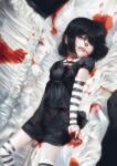 1girl bangs black_dress black_hair blood blood_from_mouth blood_on_clothes blood_on_face blood_on_hands coffin dress hair_over_eyes hair_over_one_eye highres jcm2 lucy_loud lying on_back short_hair solo striped striped_legwear the_loud_house thigh-highs zettai_ryouiki
