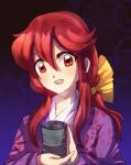 1girl blush bow cup dungeon_toaster eyebrows_visible_through_hair floral_print hair_bow highres holding holding_cup japanese_clothes kimono kotohime_(touhou) long_hair long_sleeves looking_at_viewer open_mouth purple_kimono red_eyes redhead touhou touhou_(pc-98) upper_body upper_teeth yellow_bow