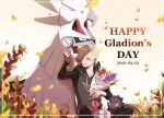 1boy black_pants blonde_hair blurry bouquet box character_name commentary_request dated ear_piercing flower framed gift gift_box gladion_(pokemon) green_eyes hand_up highres holding holding_bouquet hood hoodie legendary_pokemon long_sleeves male_focus mugiccha2 one_eye_closed open_mouth pants petals piercing pokemon pokemon_(creature) pokemon_(game) pokemon_sm red_ribbon ribbon short_hair silvally sitting smile upper_teeth zorua