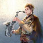 1boy brown_hair f25f glasses highres instrument male_focus music playing_instrument romancing_saga_3 saga saxophone simple_background solo thomas_bent