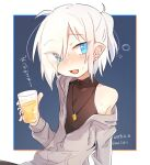 1girl :d black_shirt blue_background blue_eyes blue_nails blush border cup dated drinking_glass fang fingernails grey_jacket heterochromia higashi_shino holding holding_cup jacket jewelry long_sleeves looking_at_viewer medium_hair nail_polish necklace nowareno_(higashi_shino) open_mouth original pointy_ears ponytail shirt simple_background slit_pupils smile solo translation_request twitter_username white_border white_hair