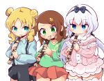 3girls absurdres bangs beads black_bow black_hairband black_skirt blonde_hair blue_eyes blue_shirt blush bow bow_hairband brown_hair capelet child chloe_(maidragon) closed_mouth collarbone collared_shirt commentary_request double_bun dress eyebrows_visible_through_hair flower frilled_capelet frills green_eyes green_shirt hair_beads hair_bow hair_flower hair_ornament hairband highres holding holding_instrument instrument kanna_kamui kobayashi-san_chi_no_maidragon light_purple_hair long_hair long_sleeves looking_at_viewer looking_down low_twintails medium_hair multiple_girls music pink_dress playing_instrument pleated_skirt print_shirt recorder red_skirt saikawa_riko shinsou_komachi shirt shirt_tucked_in short_dress side-by-side simple_background skirt smile standing suspender_skirt suspenders sweat thigh-highs twintails white_background white_legwear yellow_flower