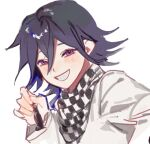 1boy bangs blush checkered checkered_scarf chess_piece danganronpa_(series) danganronpa_v3:_killing_harmony grey_jacket grin hand_up holding jacket long_sleeves looking_at_viewer male_focus ouma_kokichi scarf short_hair simple_background sketch smile solo teeth upper_body white_background yp_(pypy_5_)