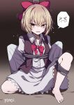 1girl absurdres artist_name barefoot blonde_hair blush bow brown_vest buttons commission dress eyebrows_visible_through_hair gengetsu_(touhou) hair_between_eyes hair_bow highres long_sleeves open_mouth red_bow restrained shirt short_hair signature skeb_commission solo spoken_expression touhou touhou_(pc-98) vest white_dress white_shirt yellow_eyes yonoisan