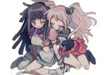 2girls :d absurdres apron bandaged_arm bandaged_leg bandages bangs bear_hair_ornament black_neckwear black_shirt blonde_hair blood blood_on_face blue_skirt blush boots breasts closed_eyes collared_shirt commentary_request danganronpa:_trigger_happy_havoc danganronpa_(series) danganronpa_2:_goodbye_despair enoshima_junko grey_apron hair_ornament highres hug hug_from_behind knee_boots large_breasts long_hair manaita_no_sake multiple_girls necktie one_eye_closed open_mouth pink_blood pink_shirt plaid plaid_skirt pleated_skirt puffy_short_sleeves puffy_sleeves red_skirt school_uniform shiny shiny_skin shirt shoes short_sleeves simple_background sitting skirt smile socks tsumiki_mikan twintails white_background white_neckwear