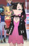 2girls black_hair black_jacket choker crepe dress food green_eyes highres holding holding_food hood_(james_x) jacket marnie_(pokemon) morpeko morpeko_(full) multiple_girls nessa_(pokemon) on_shoulder one_eye_closed pink_dress pokemon pokemon_(creature) pokemon_(game) pokemon_on_shoulder pokemon_swsh short_dress solo_focus twintails two_side_up
