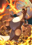 blurry breathing_fire charizard claws commentary_request fire green_eyes highres no_humans open_mouth pokemon pokemon_(creature) solo tesshii_(riza4828) tongue