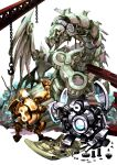 ancient_gear_gadjiltron_dragon arm_up blueprint bolt chain chinchira dragon duel_monster gears glowing glowing_eyes gold_gadget highres holding hook no_humans nut_(hardware) red_eyes robot screw silver_gadget yu-gi-oh!