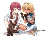 2boys black_gloves blonde_hair brown_shorts cleavage_cutout clothing_cutout earrings elf genderswap genderswap_(ftm) gloves heterochromia highres hololive houshou_marine indian_style jewelry male_focus multiple_boys necklace open_mouth orange_eyes pendant pointy_ears ponytail red_eyes redhead shiranui_flare shorts single_thighhigh sitting smile thigh-highs trading_card vest virtual_youtuber watch watch yellow_eyes yomosaka younger yu-gi-oh!