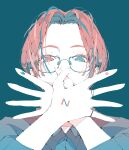1girl absurdres blue_background blue_eyes blue_hair covering_mouth ear_piercing fingers forehead glasses hands_up heterochromia highres looking_at_viewer multicolored_hair nocopyrightgirl original piercing portrait red_eyes redhead short_hair simple_background solo two-tone_hair
