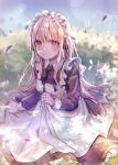 1girl absurdres apron bis-soli blonde_hair blurry blurry_background blush closed_mouth eyebrows_visible_through_hair eyes_visible_through_hair highres long_hair long_sleeves looking_at_viewer maid maid_apron maid_headdress original outdoors plant red_eyes sitting sky solo