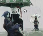 1girl 3boys bandaged_head bandages bin_brothers_(tokyo_ghoul) black_cloak brown_hair carrying cloak commentary_request eto_(tokyo_ghoul) from_side holding holding_another holding_umbrella hood hood_up long_hair long_sleeves looking_at_another mask multiple_boys noro_(tokyo_ghoul) on_shoulder ponytail princess_carry rain red_eyes sitting speech_bubble straw_like teeth_print tokyo_ghoul torn_clothes translation_request umbrella
