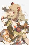 1girl 4_(nakajima4423) :o animal_bag animal_ears bear_bag bear_ears blurry blurry_foreground bow brown_bow brown_gloves brown_hair commentary_request dress eyebrows_visible_through_hair fingerless_gloves floral_print food_print foreshortening fur-trimmed_gloves fur_trim gloves green_dress hair_bow highres kusanagi_nene leg_up long_hair looking_back open_mouth plaid plaid_skirt project_sekai red_eyes sidelocks simple_background skirt solo strawberry_print surprised translation_request white_background