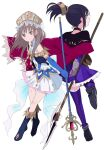 2girls arm_behind_back atelier_(series) atelier_lulua atelier_totori back-to-back black_hair blue_gloves boots bow bracer brown_eyes brown_hair cape choker dress elbow_gloves fingerless_gloves frills gloves hair_ornament halberd headdress holding holding_weapon knee_boots looking_at_viewer looking_back maromi_(am97) mimi_houllier_von_schwarzlang multiple_girls plantar_flexion polearm ponytail red_eyes simple_background smile staff standing standing_on_one_leg thigh-highs totooria_helmold weapon white_background