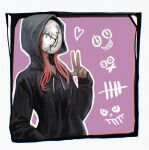 1girl black_hoodie border broken_mask choker commentary_request dead_by_daylight highres hood hood_up hoodie long_hair long_sleeves mask outline pink_background redhead solo straw_like the_legion_(dead_by_daylight) translation_request upper_body v white_border white_outline