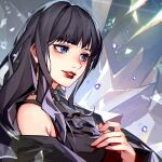 1girl bangs bare_shoulders black_dress black_hair blue_eyes blunt_bangs choker crow0cc crystal detached_sleeves dress final_fantasy final_fantasy_xiv frilled_choker frills gaia_(ff14) hand_on_own_chest highres hyur long_hair parted_lips red_lips solo wide_sleeves
