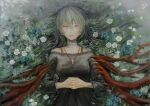 1girl :d bandaged_neck bandages bangs bare_shoulders black_dress blue_flower breasts commentary_request cross cross_necklace dress eto_(tokyo_ghoul) field flower flower_field from_above gradient gradient_background green_hair hair_between_eyes heterochromia interlocked_fingers jewelry latin_cross long_hair looking_at_viewer lying medium_breasts necklace on_back open_mouth own_hands_together smile solo straw_like tokyo_ghoul upper_teeth white_flower