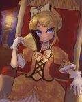 1girl aku_no_musume_(vocaloid) blonde_hair blue_eyes candle commentary dress dress_bow dutch_angle earrings elbow_rest evillious_nendaiki floral_print flower frilled_gloves frills gloves hair_ornament hairclip hand_fan highres holding holding_fan jewelry kagamine_rin lcfz necklace pearl_necklace riliane_lucifen_d'autriche rose rose_print short_sleeves smile solo throne throne_room tsurime updo vocaloid white_gloves window yellow_dress