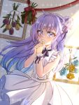 1girl ahoge alternate_costume azur_lane bangs blunt_bangs commentary_request crying crying_with_eyes_open dress eyebrows_visible_through_hair fang_huu_(funfox) flower hair_bun hands_together holding holding_flower interlocked_fingers long_hair looking_at_viewer one_side_up purple_hair side_bun sidelocks sleeveless sleeveless_dress solo sunlight tears unicorn_(azur_lane) violet_eyes white_dress wind