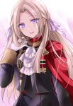 1girl ascot blush buttons cape commentary_request edelgard_von_hresvelg eyebrows_visible_through_hair eyes_visible_through_hair fire_emblem fire_emblem:_three_houses forehead garreg_mach_monastery_uniform gloves hair_ribbon hand_in_hair kirishima_riona lips long_hair long_sleeves looking_at_viewer open_mouth pink_lips purple_ribbon red_cape ribbon sidelocks smile solo uniform upper_body violet_eyes white_gloves white_hair white_neckwear