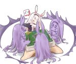 4girls animal_ears aura azur_lane clone highres kotatsu long_hair long_sleeves mahjong multiple_girls nijiiro_diary rabbit_ears shimakaze_(azur_lane) table