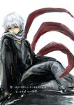 1boy arm_support bangs from_side grey_background grey_hair grey_scarf kagune_(tokyo_ghoul) kaneki_ken long_sleeves looking_at_viewer male_focus red_eyes scarf shiny shiny_hair short_hair simple_background sitting solo straw_like tentacles tokyo_ghoul translation_request white_hair
