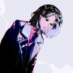 1girl a979717082 bangs black_eyes black_hair black_jacket bona_(wjsn) expressionless grey_background highres jacket k-pop looking_down medium_hair parted_bangs real_life red_shirt shirt solo upper_body wjsn