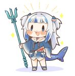 1girl :3 :d bangs blue_eyes blue_hair blunt_bangs blush_stickers chibi commentary dated_commentary fish_tail full_body gawr_gura hair_ornament hairclip highres hololive hololive_english long_hair long_sleeves multicolored_hair open_mouth polearm pouch same_anko shark_hair_ornament shark_tail sharp_teeth simple_background smile solo streaked_hair tail teeth trident two-tone_hair two_side_up v-shaped_eyebrows virtual_youtuber weapon white_background white_hair wide_sleeves