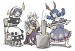 3girls angel_wings animal_ears barefoot beige_jacket black_capelet black_hair blue_dress bound bound_arms bow bowtie brown_footwear capelet chair covered_eyes crescent_print doremy_sweet dress ear_clip eyebrows_visible_through_hair hair_between_eyes hat highres kine kishin_sagume long_sleeves mallet motion_lines multiple_girls open_mouth peroponesosu. pom_pom_(clothes) puffy_short_sleeves puffy_sleeves purple_dress purple_hair rabbit_ears red_eyes red_neckwear santa_hat seiran_(touhou) short_hair short_sleeves simple_background single_wing star_(symbol) star_print touhou white_background white_hair wings