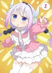 1girl absurdres black_hairband blue_eyes blush buttons capelet dragon_girl dragon_horns eyebrows_visible_through_hair feet_out_of_frame frilled_capelet frills hairband highres horns kanna_kamui kobayashi-san_chi_no_maidragon light_purple_hair long_hair long_sleeves low_twintails mimimi_3x3x3 open_mouth slit_pupils solo speech_bubble thigh-highs twintails white_capelet white_legwear