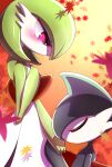 1boy 1girl artist_name autumn_leaves bangs blush bob_cut closed_eyes closed_mouth colored_skin commentary_request cowboy_shot day flat_chest from_side gallade gardevoir gradient gradient_background green_hair green_skin grey_hair grey_skin half-closed_eyes hand_on_own_chest hand_up highres holding_hands kiss kissing_hand looking_at_another looking_down multicolored multicolored_skin orange_background outdoors pink_eyes pokemon pokemon_(creature) profile short_hair sideways_mouth signature standing tsukkon twitter_username two-tone_skin white_skin