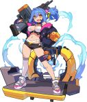 1girl :3 amelia_(world_flipper) arm_up artist_request ass_visible_through_thighs bangs bikini bikini_under_clothes black_choker black_shorts blue_hair blue_jacket blush breasts choker explosive eyebrows_visible_through_hair full_body grenade gun hair_between_eyes hair_intakes hair_ornament hair_ribbon hand_on_hip headset highres holding holding_gun holding_weapon jacket jetpack large_breasts legs_apart light_blush light_machine_gun long_hair long_sleeves micro_shorts multicolored_footwear navel non-web_source off-shoulder_jacket off_shoulder official_art open_clothes open_fly open_jacket over_shoulder ponytail puffy_long_sleeves puffy_sleeves ribbon sandals shiny shiny_hair short_shorts shorts sidelocks single_thighhigh skindentation solo sticker stomach swimsuit thigh-highs thigh_strap tied_hair transparent_background two-sided_fabric two-sided_jacket water weapon weapon_over_shoulder white_legwear world_flipper yellow_ribbon