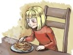 1girl blonde_hair chair child closed_mouth drag-on_dragoon dress food fork manah pancake red_dress red_eyes short_hair smile solo sunakawa_mizuchi table