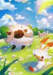 blurry brown_eyes closed_mouth clouds commentary_request day grass highres koune827 leaves_in_wind looking_up minccino no_humans open_mouth outdoors pokemon pokemon_(creature) scorbunny sky smile standing toes wooloo