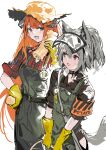 2girls absurdres alchemaniac animal_ears arknights armband bagpipe_(arknights) brown_shirt cowboy_shot dragon_horns gloves grani_(arknights) green_overalls grey_hair hair_between_eyes hat highres hip_vent holding horns horse_ears horse_girl horse_tail light_blush looking_at_viewer multiple_girls open_mouth orange_hair plaid plaid_shirt ponytail potato red_shirt shirt simple_background sketch sun_hat tail teeth violet_eyes visor_cap white_background yellow_gloves