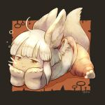 1girl animal_ears animal_feet animal_hands artist_name barefoot body_fur brown_background brown_fur claws closed_mouth furry hands_on_own_cheeks hands_on_own_face lying made_in_abyss nanachi_(made_in_abyss) no_shirt on_stomach orange_background pants pout rabbit_ears short_hair sidelocks tail toro_astro two-tone_background whiskers white_hair yellow_eyes