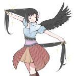 1girl bangs black_hair blue_shirt boots breasts brown_footwear brown_skirt closed_eyes comb cropped_legs feathered_wings headwear_removed highres horse_tail kurokoma_saki long_hair medium_breasts multicolored multicolored_clothes pegasus_wings peroponesosu. scarf shirt simple_background skirt smile solo sparkle tail touhou white_background wings