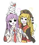 2girls anger_vein arm_up bangs black_eyes blonde_hair blush breath brown_sash chinese_clothes choko_(cup) collared_shirt cup drooling drunk empty_eyes hand_on_another's_shoulder highres junko_(touhou) light_purple_hair long_hair long_sleeves multiple_girls necktie open_mouth peroponesosu. phoenix_crown red_neckwear reisen_udongein_inaba ribbon shirt short_sleeves simple_background tabard tassel touhou twisted_ears white_background white_shirt wide_sleeves yellow_neckwear yellow_ribbon
