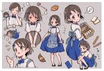 2girls ai_nige apron ara_ara back_bow baguette bakery bare_legs black_hair blue_skirt blush bow bowtie bread bread_slice croissant cropped_legs cropped_torso embarrassed flying_sweatdrops food full-face_blush full_body highres idolmaster idolmaster_cinderella_girls looking_at_viewer mother_and_daughter multiple_girls multiple_views musical_note notice_lines plaid plaid_apron polka_dot polka_dot_background sasaki_chie sasaki_chie's_mother shop short_hair skirt smile speech_bubble waitress