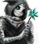 1girl bandaged_arm bandaged_head bandages black_cloak black_sclera cloak colored_sclera commentary_request eto_(tokyo_ghoul) flower grey_background grey_eyes grey_scarf hands_up holding holding_flower hood hooded_cloak scarf simple_background solo straw_like tokyo_ghoul