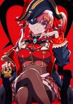 1girl absurdres arrow_through_heart ascot bangs bicorne black_coat black_headwear breasts brown_legwear brown_leotard clenched_teeth coat commentary_request crossed_legs eyebrows_visible_through_hair eyepatch feet_out_of_frame hair_between_eyes hair_ribbon hat highres holding hololive houshou_marine jacket leotard leotard_under_clothes long_hair long_sleeves looking_at_viewer nail_polish off_shoulder open_clothes open_coat pension_z pirate_hat pleated_skirt red_eyes red_jacket red_nails red_neckwear red_ribbon red_skirt red_theme redhead ribbon sitting skirt sleeveless sleeveless_jacket solo teeth thigh-highs twintails virtual_youtuber
