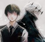 2boys anniversary bangs black_cloak black_hair black_vest blue_eyes brown_hair cloak closed_mouth collared_shirt commentary_request copyright_name crown dual_persona eyebrows_visible_through_hair grey_hair grey_shirt kaneki_ken looking_at_viewer looking_down male_focus multicolored_hair multiple_boys necktie numbered red_eyes shirt short_hair straw_like tokyo_ghoul tokyo_ghoul:re two-tone_hair upper_body vest waiter