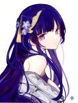 1girl absurdres bangs bare_shoulders blunt_bangs breasts closed_mouth dark_blue_hair error1980 expressionless flower genshin_impact hair_flower hair_ornament hairclip highres long_hair looking_to_the_side mole mole_under_eye multicolored_hair off-shoulder_kimono off_shoulder purple_hair raiden_shogun simple_background solo streaked_hair tassel two-tone_hair upper_body violet_eyes white_background