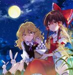 2girls :< ahoge ascot black_skirt black_vest blonde_hair blush boots bow braid brown_eyes brown_footwear brown_hair clouds cloudy_sky detached_sleeves eyebrows_visible_through_hair food food_on_face frilled_shirt_collar frills full_moon hair_between_eyes hair_bow hair_ribbon hair_tubes hakurei_reimu headwear_removed highres kirisame_marisa light_trail long_hair long_sleeves looking_at_viewer mochi moon multiple_girls night night_sky poprication purple_ribbon rabbit red_bow red_skirt red_vest ribbon ribbon-trimmed_sleeves ribbon_trim shirt skirt sky star_(sky) starry_sky symbol-only_commentary touhou vest wheat_grass white_shirt wide_sleeves yellow_eyes yellow_neckwear
