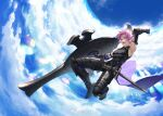 1boy armor armored_boots bare_shoulders black_armor blue_sky boots clouds cloudy_sky fate/grand_order fate_(series) gauntlets genderswap genderswap_(ftm) greaves holding holding_shield looking_at_viewer male_focus mash_kyrielight mosi_l open_mouth outdoors pink_hair shield short_hair sky smile solo sword teeth violet_eyes weapon