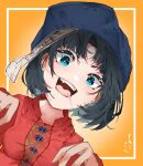 1girl bangs black_hair blue_eyes blue_headwear breasts collarbone from_below gradient gradient_background hat highres jiangshi looking_at_viewer miyako_yoshika ofuda open_mouth orange_background outstretched_arms red_shirt saliva shirt short_hair short_sleeves small_breasts solo tongue touhou upper_body upper_teeth xmj6teuc zombie_pose
