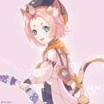 :3 animal_ears bag bangs_pinned_back black_shorts bow_(weapon) cat_ears cat_girl cat_tail cocktail_shaker detached_sleeves diona_(genshin_impact) forehead genshin_impact gloves green_eyes hat holding holding_bow_(weapon) holding_weapon mouth_hold paw_print_palms pink_background pink_hair puffy_detached_sleeves puffy_shorts puffy_sleeves ribbon shorts tail tail_ornament tail_ribbon thick_eyebrows vision_(genshin_impact) vurupin weapon white_gloves