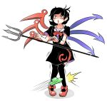 1girl asymmetrical_wings bangs black_dress black_hair black_legwear black_wristband bow center_frills collarbone commentary_request dress footwear_bow frills highres houjuu_nue kneehighs motion_lines open_mouth pain peroponesosu. polearm red_bow red_eyes red_footwear red_neckwear short_hair short_sleeves simple_background solo tears touhou trident ufo weapon white_background wings