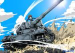 1girl action bangs blue_jacket blue_sky brown_hair clouds cloudy_sky commentary_request day girls_und_panzer grin ground_vehicle highres jacket long_sleeves military military_uniform military_vehicle motion_blur motor_vehicle nakajima_(girls_und_panzer) ooarai_military_uniform outdoors short_hair sky smile solo sun tank tiger_(p) twitter_username uniform yamakake_(tororo1293)